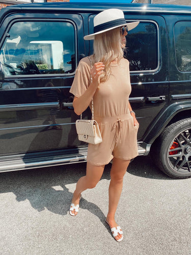 The Ruby Playsuit in Camel