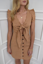 Load image into Gallery viewer, The Becky Pinstripe Dress in Camel