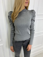 Load image into Gallery viewer, The Valerie Statement Shoulder Knit in Grey