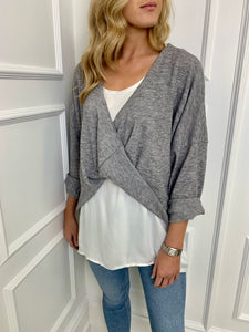 The Kylie Two in One Top in Grey