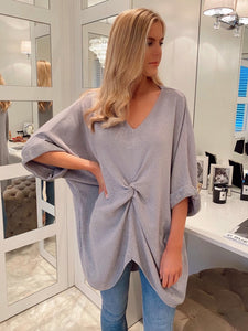 The Rose Knit Top in Grey