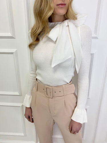 The Chloe Bow Neck Knit in White