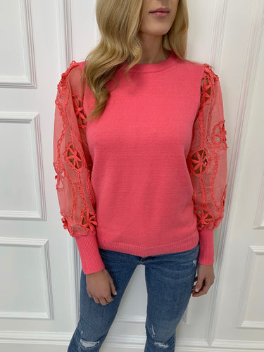 The Lula Sheer Sleeve Knit in Pink