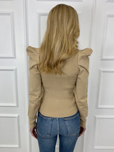 Load image into Gallery viewer, The Erin Statement Shoulder Knit in Beige