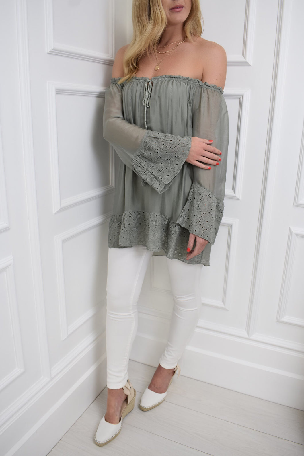 The Charlotte Top in Khaki