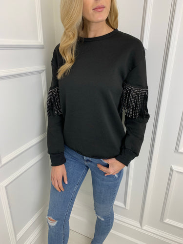 The Tia Tassel Sweatshirt in Black