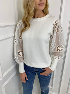 The Lula Sheer Sleeve Knit in Ivory