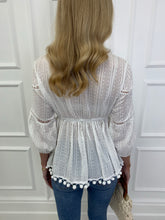 Load image into Gallery viewer, The PomPom Blouse in White