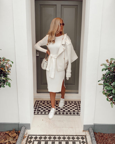 The Darcy Knit Dress in Off White