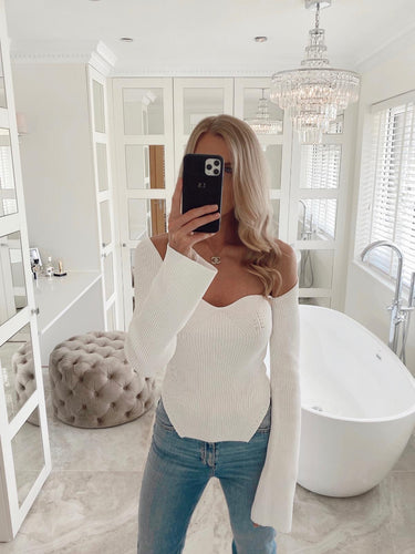 The Claudia Knit Top in White