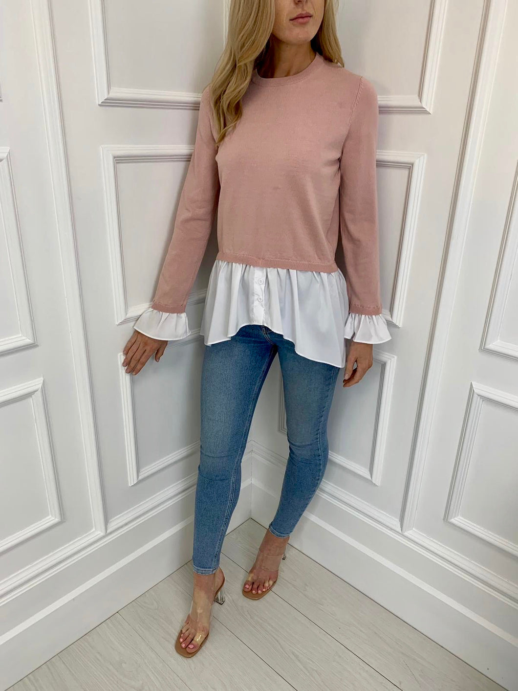 The Robyn Shirt and Knit Combo in Blush