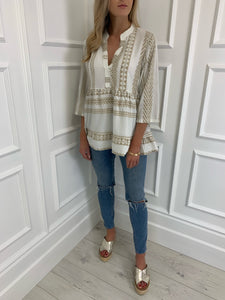 The Rosanne Top in Beige