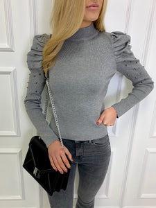 The Valerie Statement Shoulder Knit in Grey
