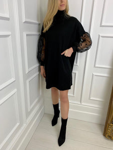The Sienna Spot Sleeve Knitted Swing Dress