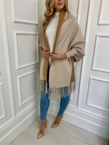 The Lux Sleeved Wrap in Cream and Camel