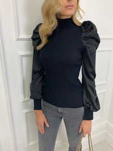 The Amber Silky Sleeve Knit in Black