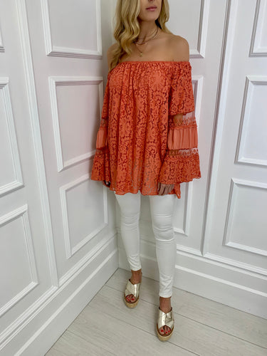 The Bora Bora Lace Top in Orange