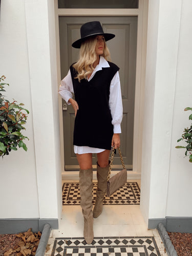 The Rosie Knit Shirt Dress in Black/White