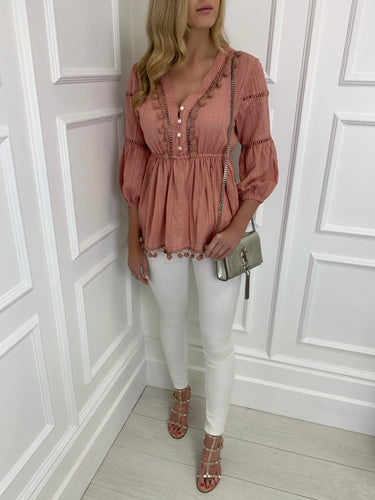 The PomPom Blouse in Dusky Pink