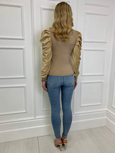 The Cressie Statement Shoulder Knit in Gold