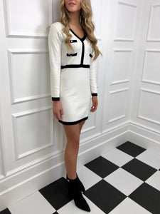 The Celine Knitted Dress in Ivory