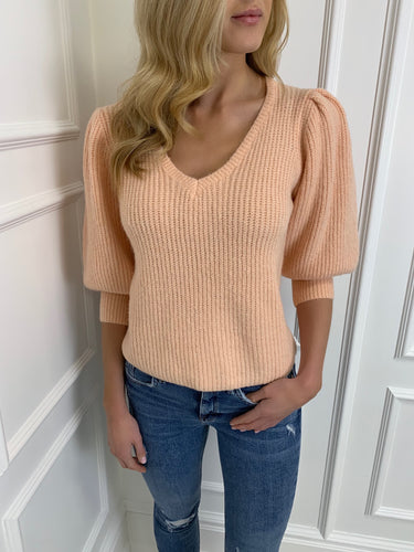 The Emelia Fluffy Puff Sleeve Knit in Peach