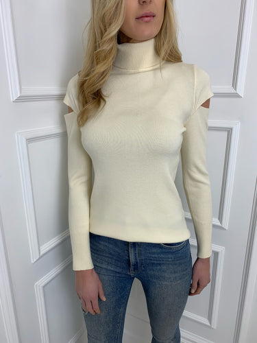 The Jodie Roll Neck Knit in Cream