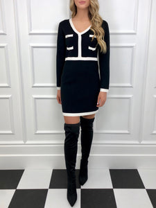 The Celine Knitted Dress in Black