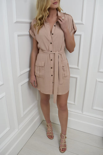 The Kirsty Shirt Dress in Nude