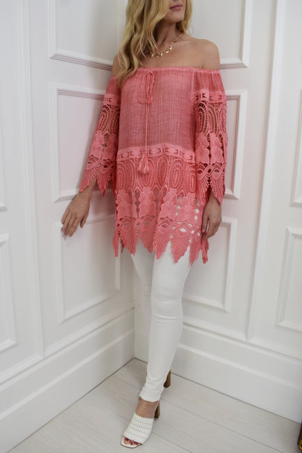 The Santorini Lace Top in Coral