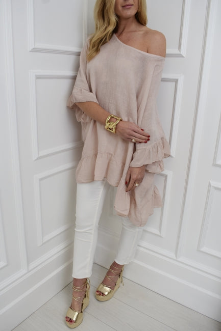 The Stephanie Linen Top in Blush