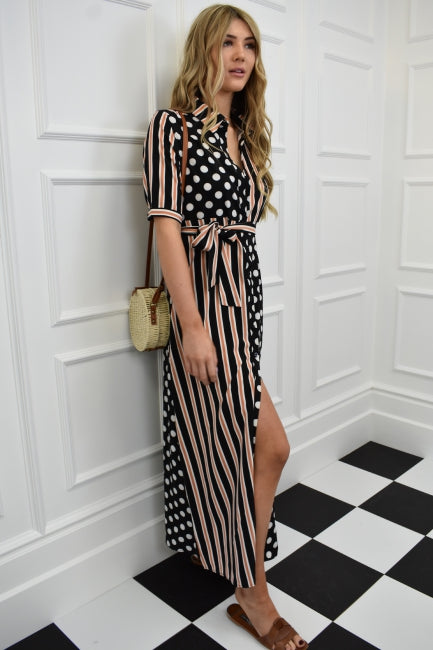 d40357f118 ... Load image into Gallery viewer, The Spot and Stripe Maxi Shirt Dress ...