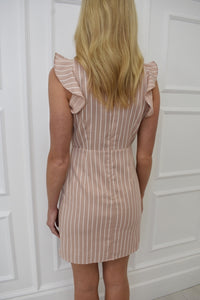 The Becky Pinstripe Dress in Nude