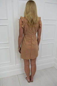 The Becky Pinstripe Dress in Camel