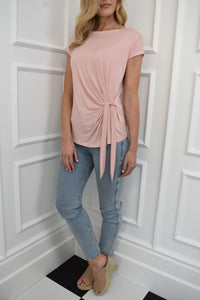 The Isla Tie Tee in Blush