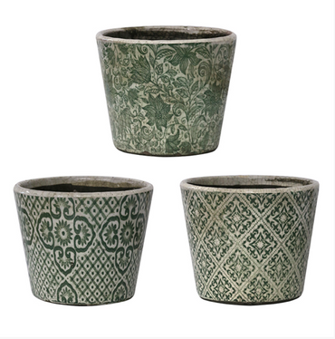 GREEN VINTAGE PATTERNED PLANTER
