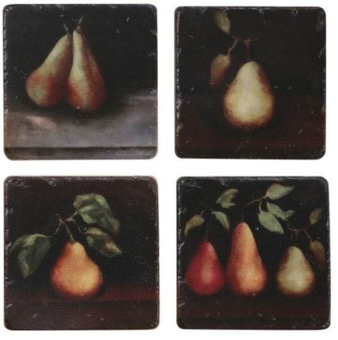 RAPHAEL PEAR COASTERS X 4 PIECES