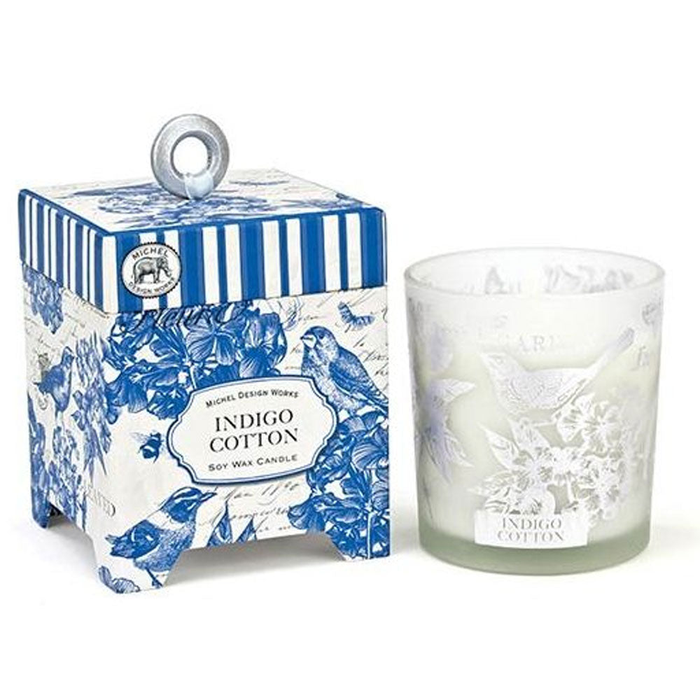 Indigo Cotton Boxed Candle