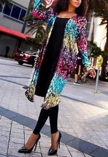 Metallic Sequins Fashion Casual Jacket