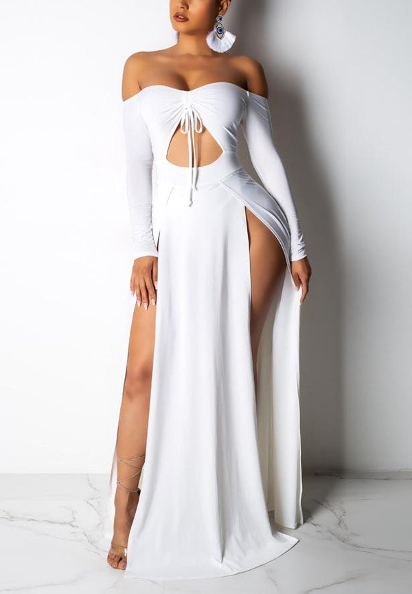 Openwork Long Sleeved Strapless Dress