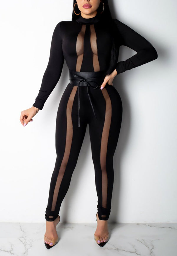 Solid Color Stitching Mesh Jumpsuit