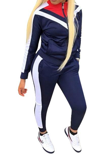 Sportswear Patchwork Twilled Satin Two Piece Pants Set