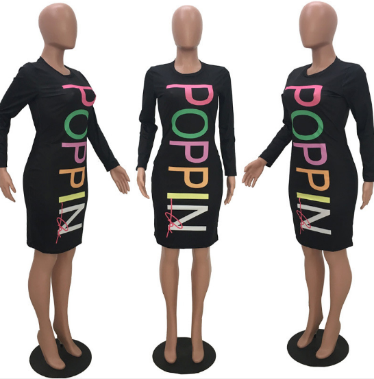 Casual Long Sleeves Letter Printed Knee Length Dress