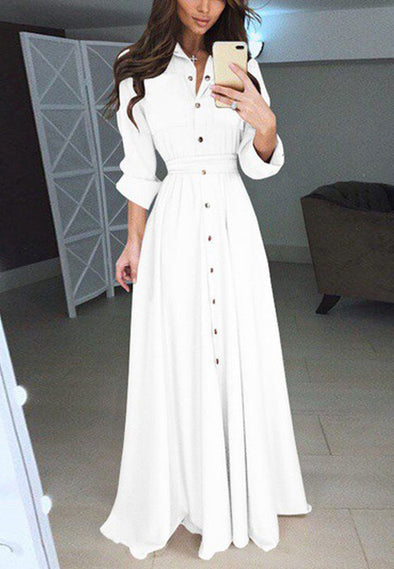 Slim Long-Sleeved Clasp Waistband Long Skirt