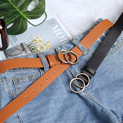 Casual round buckle belt