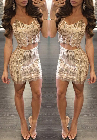 Gold sequined wavy sequin fish scale dress
