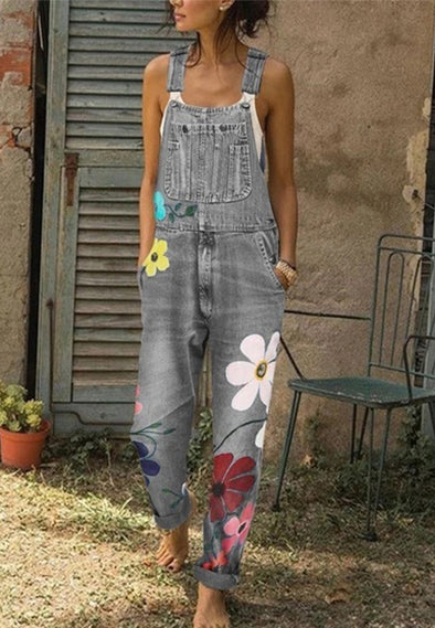 Denim Overalls Printed Washed Denim Overalls Trousers