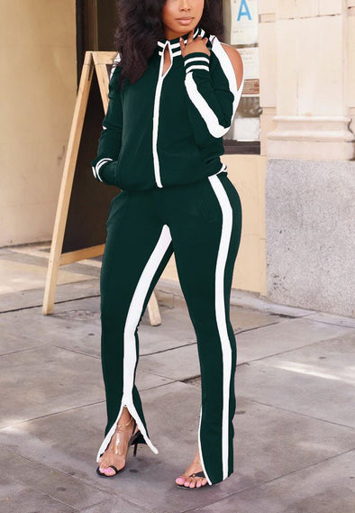Long sleeve striped sports suit A