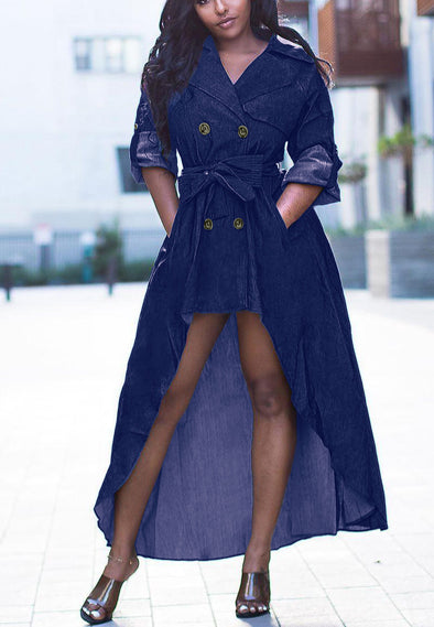 Suit Collar Dress With Belt