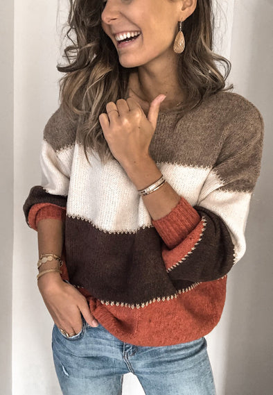 Solid color stitching sweater top